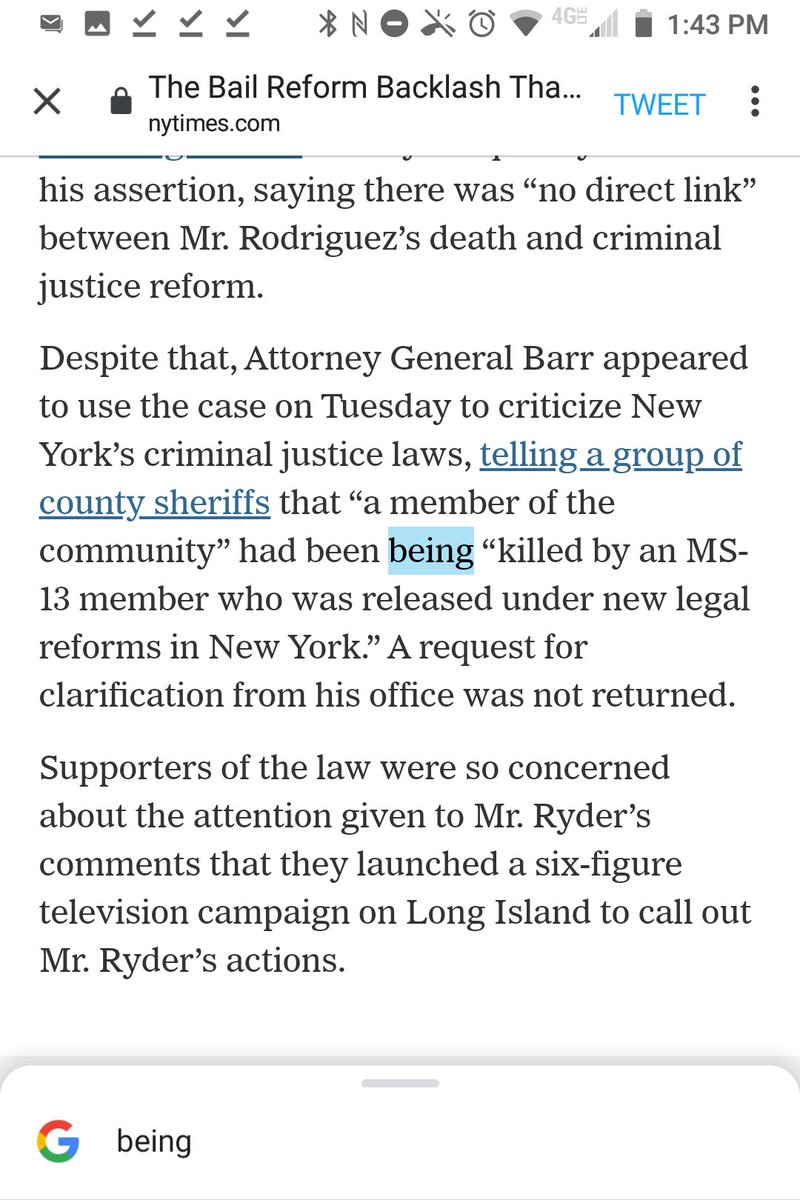 """""""being"""" is a typo, @jessemckinley, in:  """"a member of the community"""" had been being """"killed by an MS-13 member who was released under new legal reforms in New York."""""""