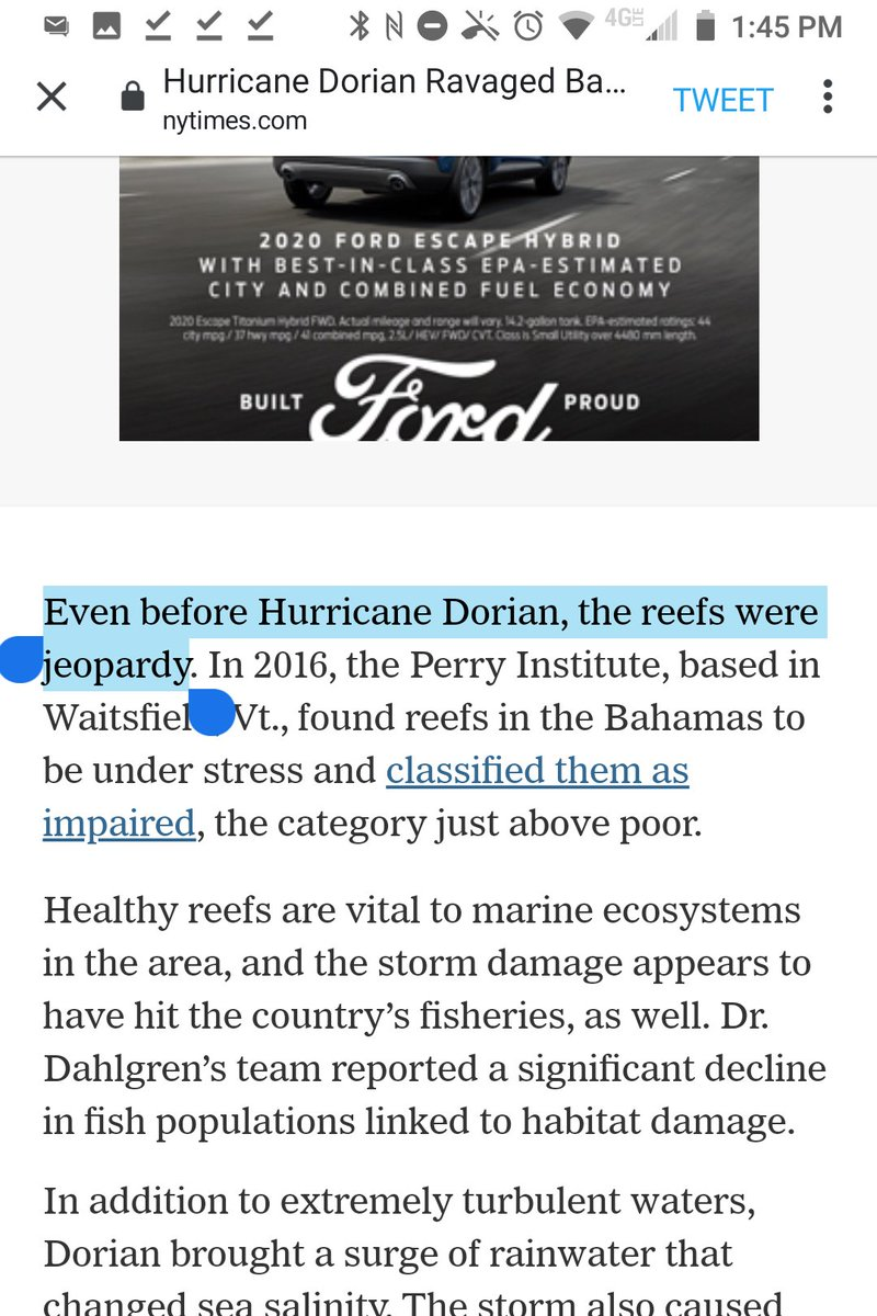 """This sentence is missing """"in"""" before """"jeopardy"""": """"Even before Hurricane Dorian, the reefs were jeopardy.""""  @Shollytupe"""