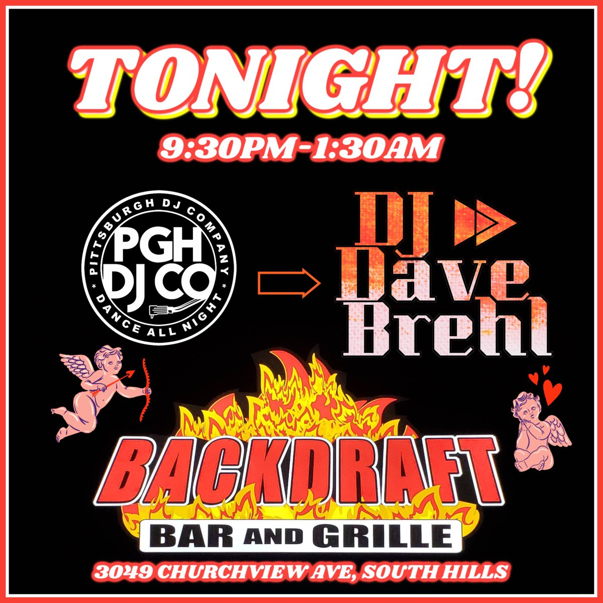 #tonight ! Look out, it's the return of #DJ Dave at #Backdraft ! He'll be spinning the tunes for you this #ValentinesDay ! #PittsburghDJ #PittsburghNightLife #ThingsToDoInPittsburgh #ValentinesDayPittsburghpic.twitter.com/sAfElEZVWY