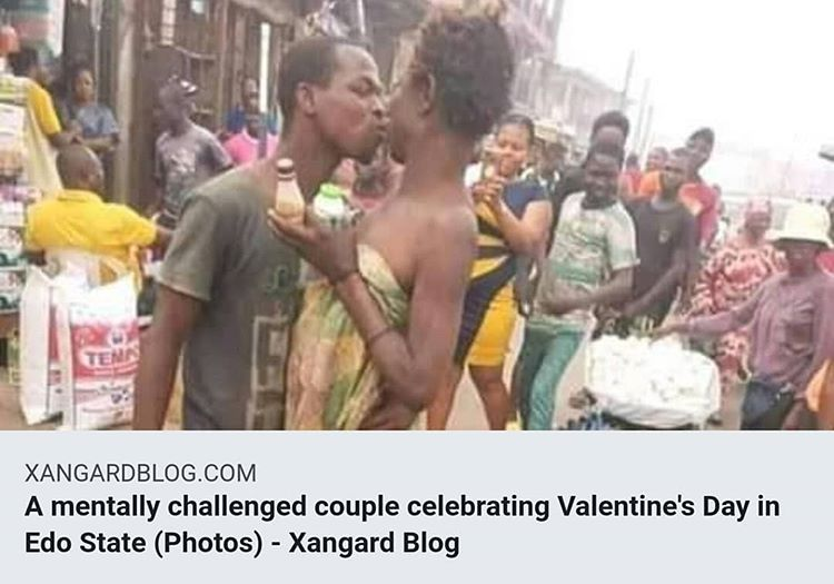 A mentally challenged couple celebrating Valentine's day in Edo state (photos) - xangard blog pic.twitter.com/xWLrLVJvqq