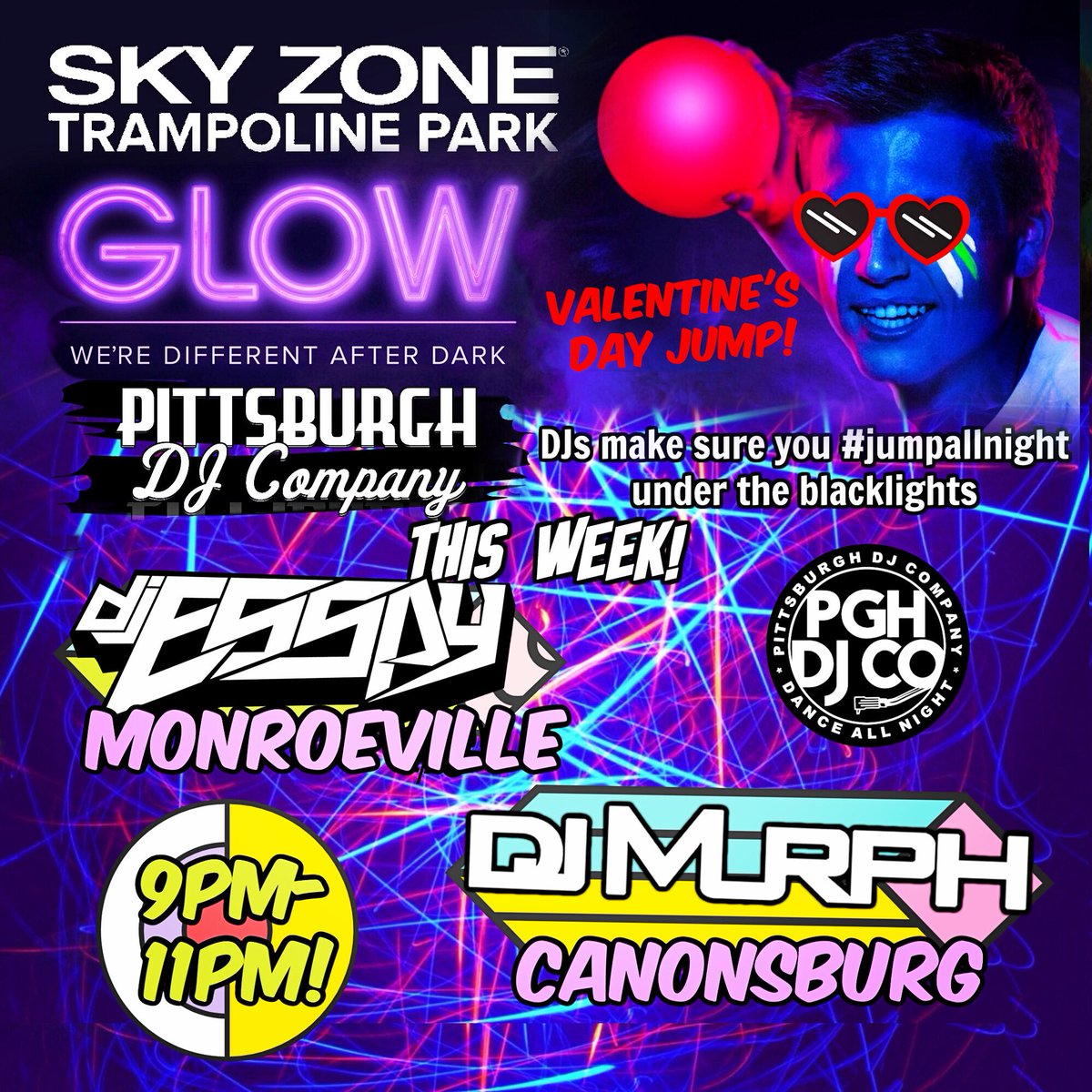 We have something fun for you to do! #jumpallnight at #2locations of #SkyZone with a real #pittsburghdj rockin the spot at #GLOW - the best #blacklightparty around! #wearneon #PittsburghDJ #PittsburghFamilyFun #PittsburghNightlife #ThingsToDoInPittsburgh #ValentinesDayPittsburghpic.twitter.com/8KdLWJPAkY – at Sky Zone