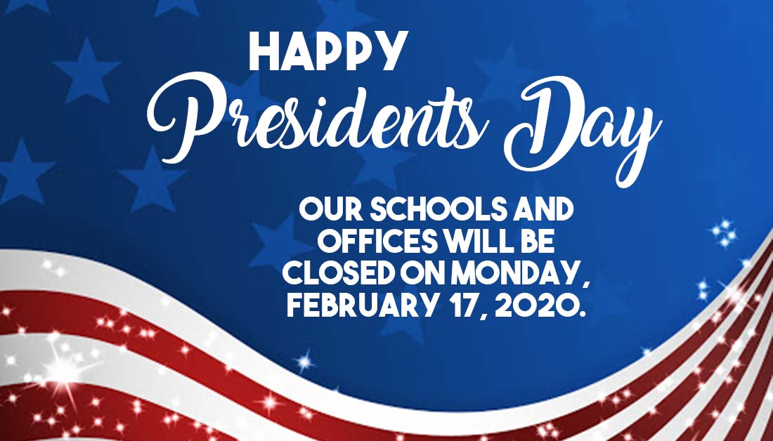 Don't forget! We are closed on Monday, February 17 in honor of Presidents Day.