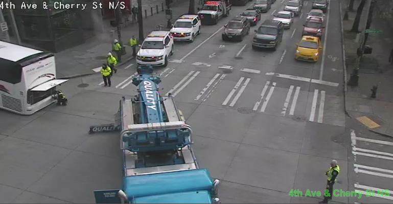 UPDATE: All NB & EB lanes are blocked on 4th Ave & Cherry St. Use alternate routes.
