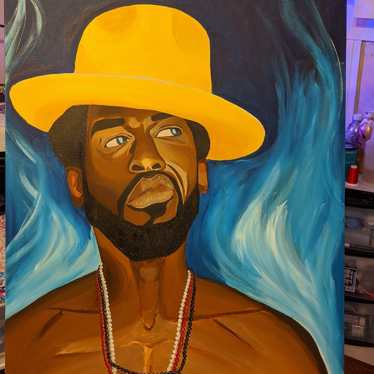 Little by little it's getting where it needs to be 30x40 acrylic on canvas #blackmen #melaninpoppin #masculineenergy #blackart #hatswag #beardgang #acrilicpainting #issaman #darkskin #mustafashakir #beads #elekespic.twitter.com/Md5xbCTND0