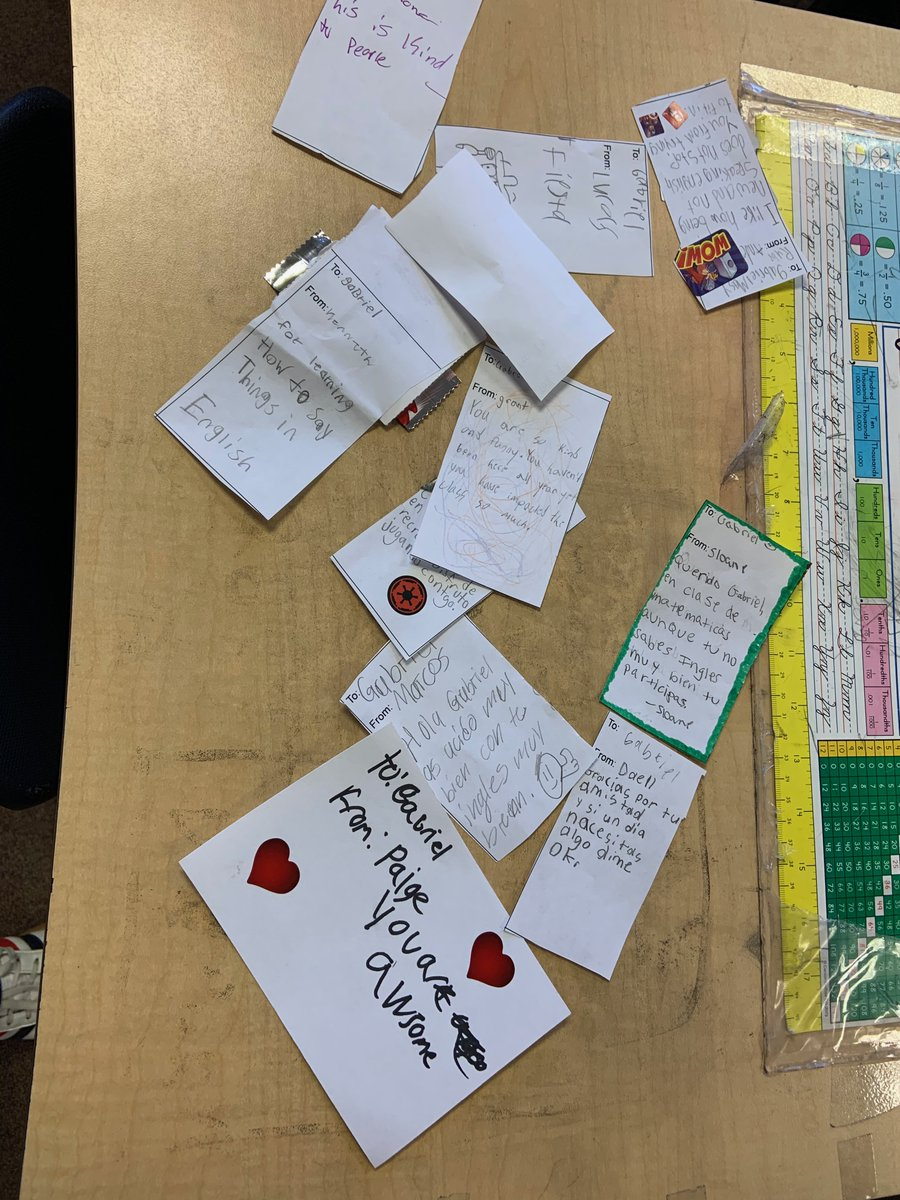 For V-Day, my Ss write positive notes for each classmate. I give them a month to work, and I'm always blown away by the amount of thought they put into their notes. This year, we have a student who doesn't speak much English. Several wrote his in Spanish! @msdwt #ProudTeacher https://t.co/QFXLBlPHaY