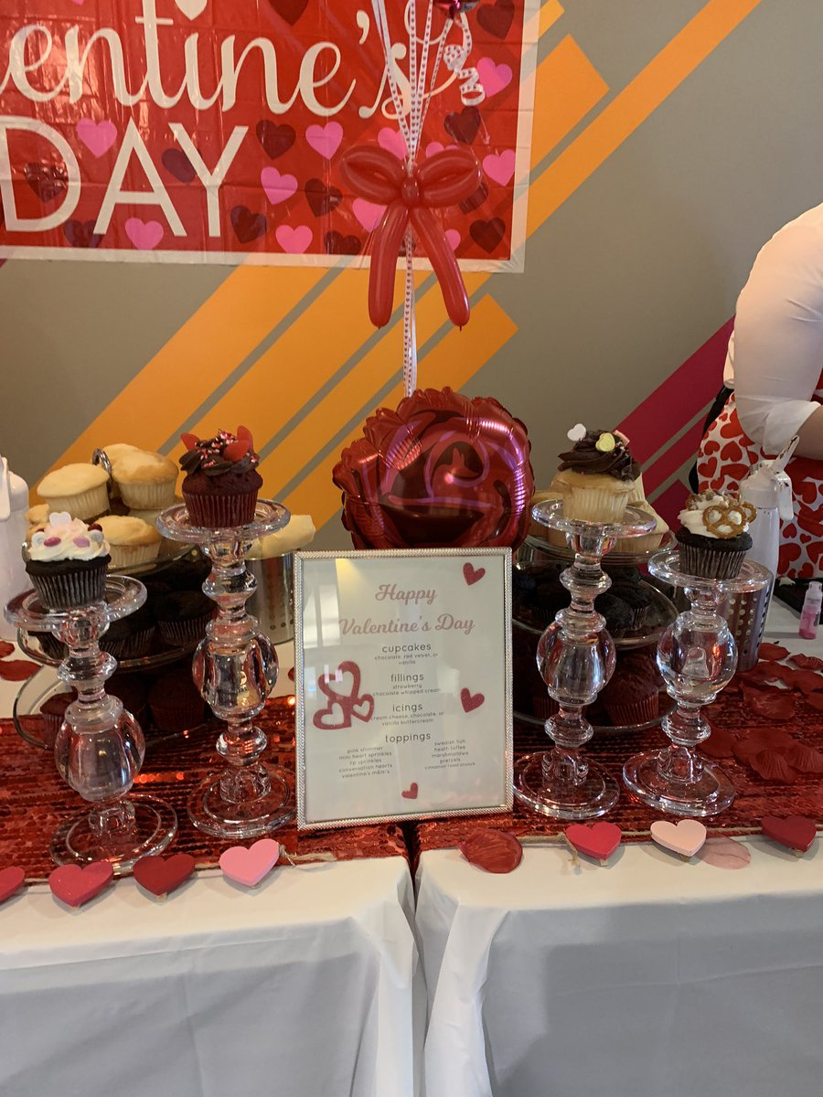 The cutest DIY cupcake pop up today at work!! #cupcake #Valentines2020 #WeAreEA