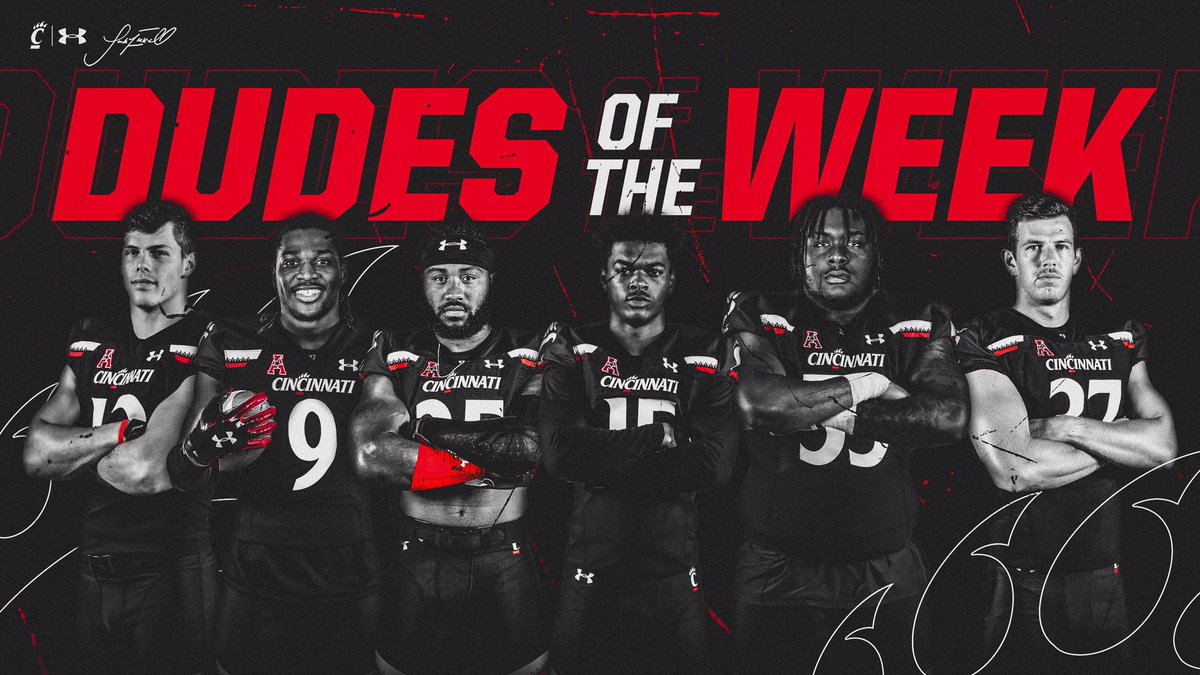 🚨DUDES OF THE WEEK pt. IV🚨 Training #TOUGHandNASTY, Setting THE STANDARD, COMPETING w/& 4 Their @GoBearcatsFB Brothers; S/O 2 @tyvanfossen @ArquonB @ward_taj3 @__BallisLife2 @_JamesSmith37 + Twitterless Cam Young!! GREAT way to finish off the week!! #CLIFTONstyle ⚫️🔴🐾👊🏻🔋💥