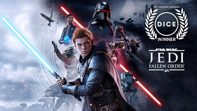 #JediFallenOrder won Adventure Game of the Year at the #DICEAwards! A huge thank you to the Academy of Interactive Arts and Sciences, the teams at Respawn and EA, and to the community that made this happen!