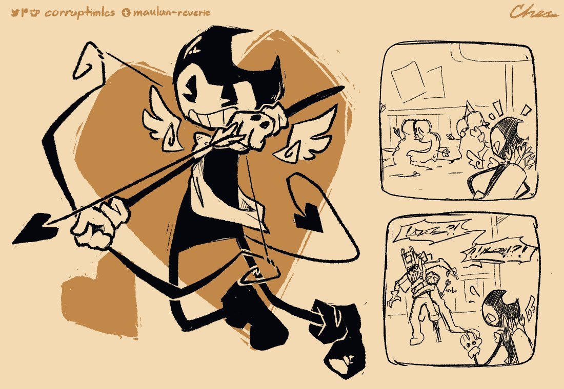 """""""Must be one of Bendy's antics again…"""" #BATIM (team sillyvision au) <br>http://pic.twitter.com/wfIYAyf79Z"""