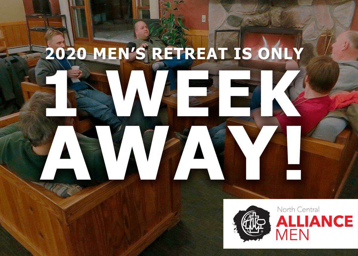 7 days from now men will start arriving at @bigsandycamp for the 2020 Men's retreat. There's still a few more days to register. Hope to see you there! https://register.northcentralalliancemen.org/events   @cmalliance #thealliance #mensretreat #NorthCentralAllianceMen #NCalliancemen #ncmensretreatpic.twitter.com/oh5hYNQBCW