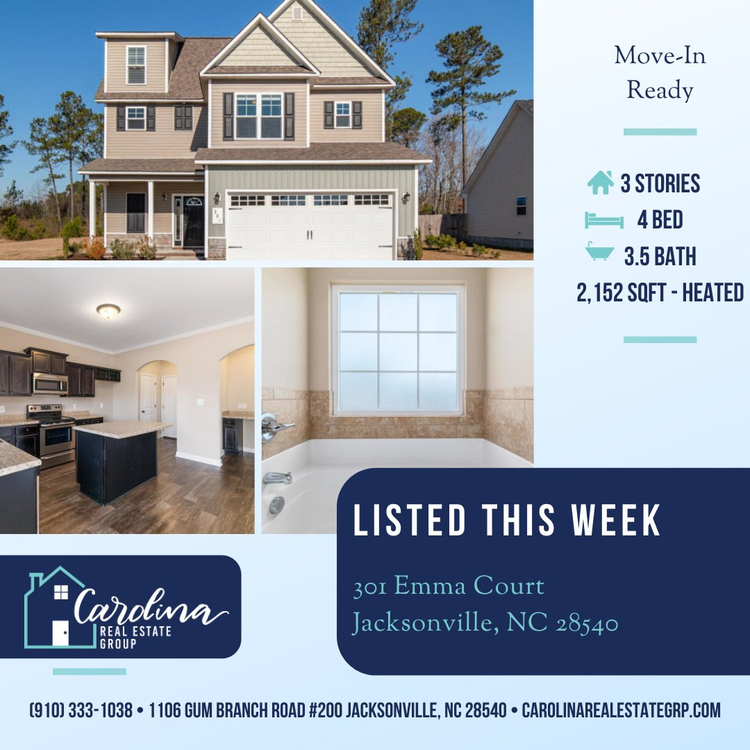 New Listing This Week!  Move-in Ready, corner lot, 4 bedroom, 3.5 bath, with over 2100 square feet head.  Call For More Information or to Schedule Your Showing! (910) 333-1038 #JacksonvilleNC #CampLejeune #OnslowCounty #JacksonvilleNCHomes  https://buff.ly/38quEdLpic.twitter.com/8J5kgvFVWP