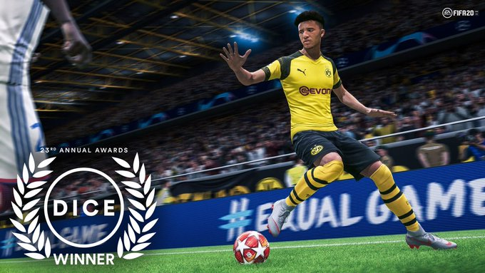 Congratulations to #FIFA20 for winning the #DICEAwards for 'Sports Game of the Year' today. We are so proud of the great work the sports team put into making another great football title. #WeAreEA