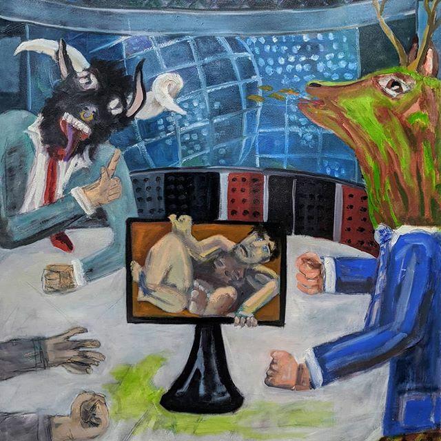 """Pundification"" #news #24hournewscycle #cnn #faux #oilpaint #oiloncanvaspainting #delphianopencall @delphiangallery #contemporarypainting #art https://ift.tt/38tKyUXpic.twitter.com/96ZH8Q6yGG"