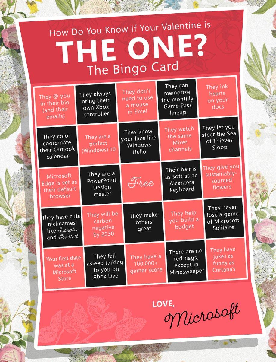 A Microsoft-themed bingo card for Valentine's Day