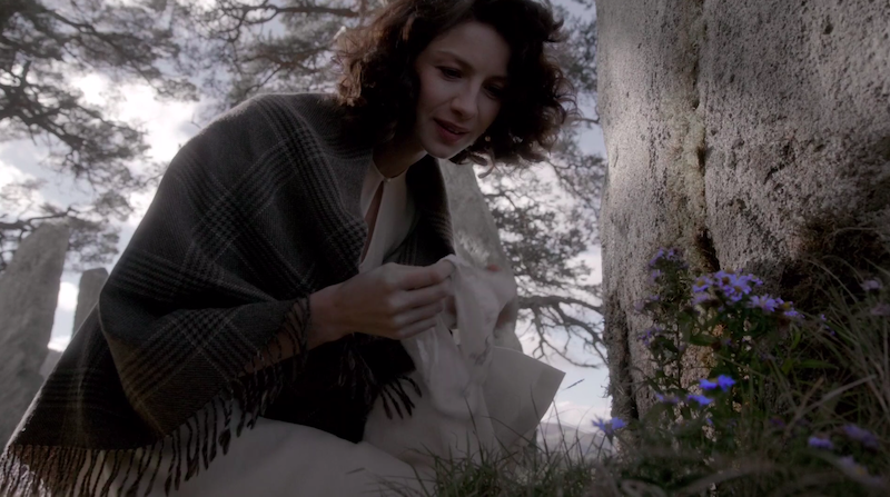 Sam has a whisky called The Sassenach.....Caitriona is now hinting towards a gin named after the forget me not flower, the flower Claire picks by the stone just before she travels back in time.....  I'm having a hard time processing here....