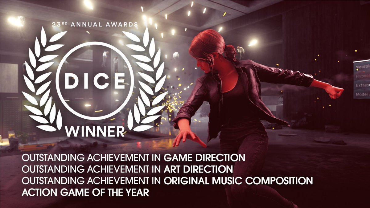 Big thank you once again from everyone at @remedygames and @505_Games. This is very surreal... #DICEAwards #ControlRemedy