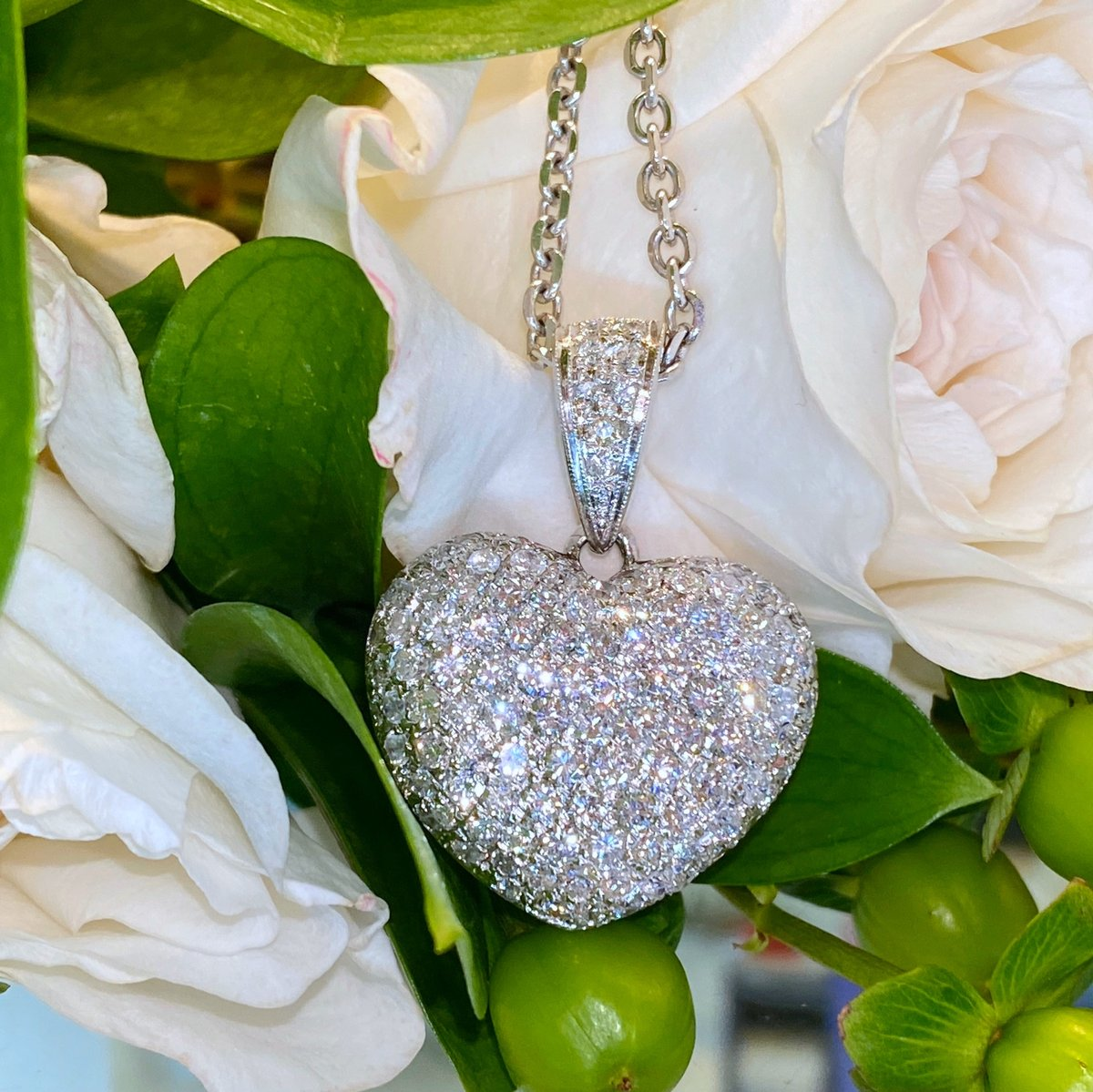 💘 Happy Valentine's Day! May your day be as full of love as this pendant is full of diamonds 💘Save 40-70% off in store or online: code LOVE40 #valentinegift #valentinesjewelry #diamondheart #heartpendant #customjeweler #luxurylifetstyle #sandimas #glendora #laverne #claremont