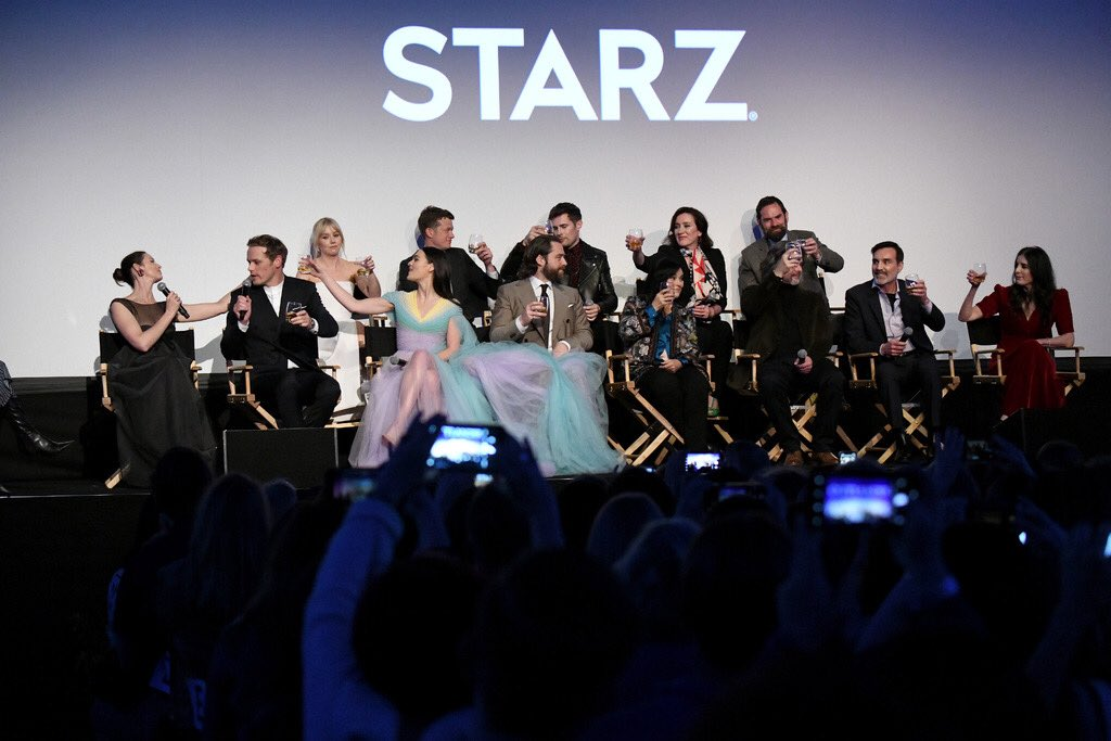A lot of fun was had at the Season 5 premiere last night Hanging out with this shower of Beauts . They are warm, loving and hilarious people. See us at work in Ep 1 which airs this Sunday ( or already if you have the Starz App) and thanks for minding us @Outlander_STARZ