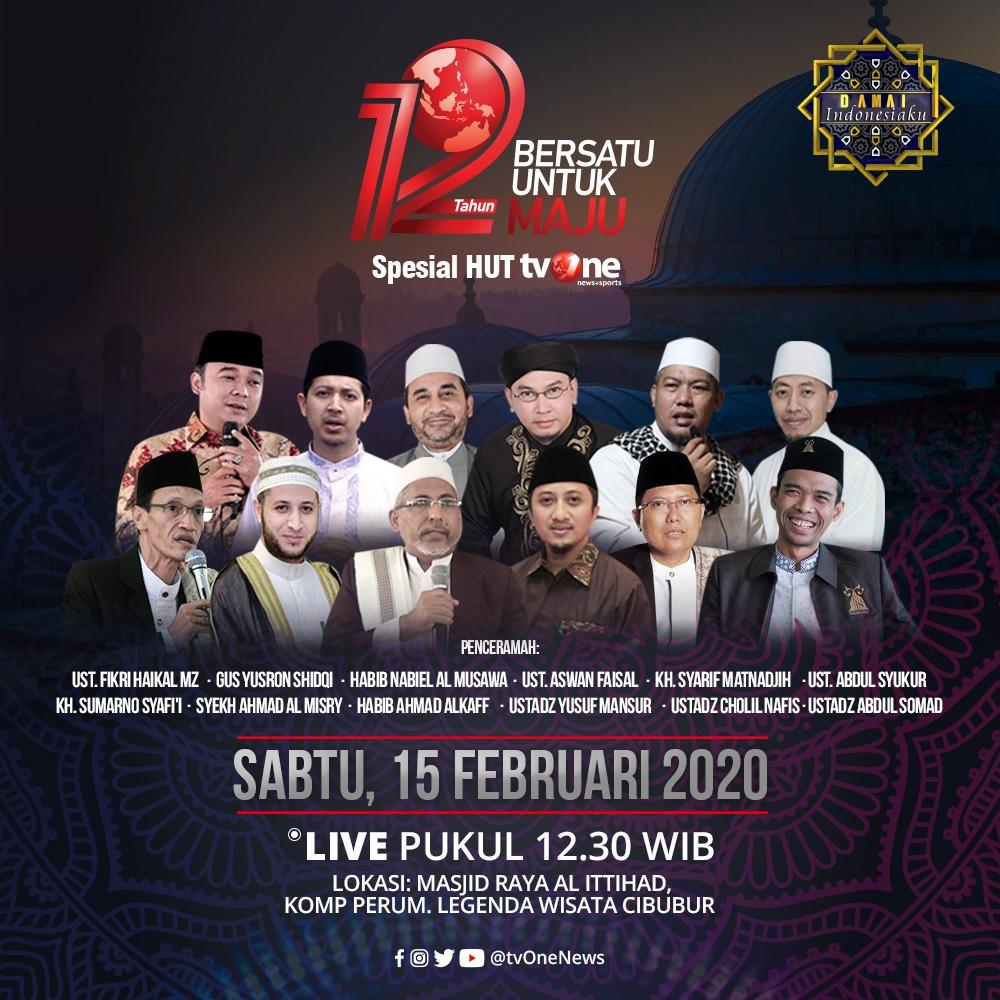 Jangan lewatkan Damai Indonesiaku Spesial 12 Tahun tvOne, Bersatu Untuk Maju.Sabtu, 15 Februari 2020 jam 12.30 WIB LIVE hanya di tvOne & streaming tvOne connect, android http://bit.ly/2EMxVdm & ios http://apple.co/2CPK6U3.#DamaiIndonesiakutvOne #12TahuntvOne