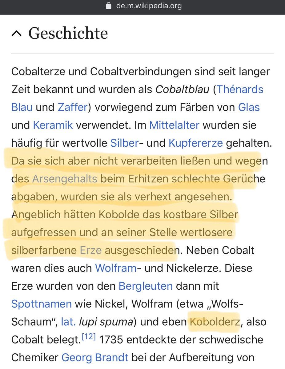 Das kommt davon wenn man sich keine Gedanken um die Wortherkunft macht und der Spott über @ABaerbock nach hinten los geht https://de.wikipedia.org/wiki/Cobalt #Kobalt #Kobold #emobilitypic.twitter.com/7X3QD1fpDk