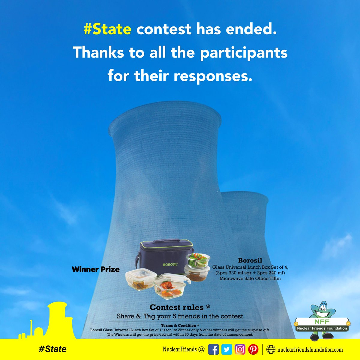#ContestAlert #State contest has ended. Thanks to all the participants for their responses.  Reach us @ http://nuclearfriendsfoundation.com  #Contest #like #RT #comment #chance #Win #prizes #Today #goodluck #giveaway #competition  #ContestEntry #entertowin  #weekendvibes @india4contests