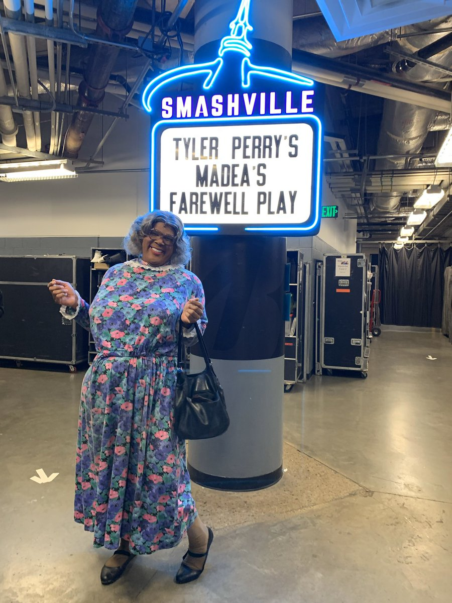About to start a show for Madea's Farewell Tour. First time there's ever been a theatrical play in the @BrdgstoneArena & over 10k of you showed up! Thank you Nashville! Y'all know how to send an old lady out in style! Here we come Augusta for the last 4 shows!#MadeasFarewellTour