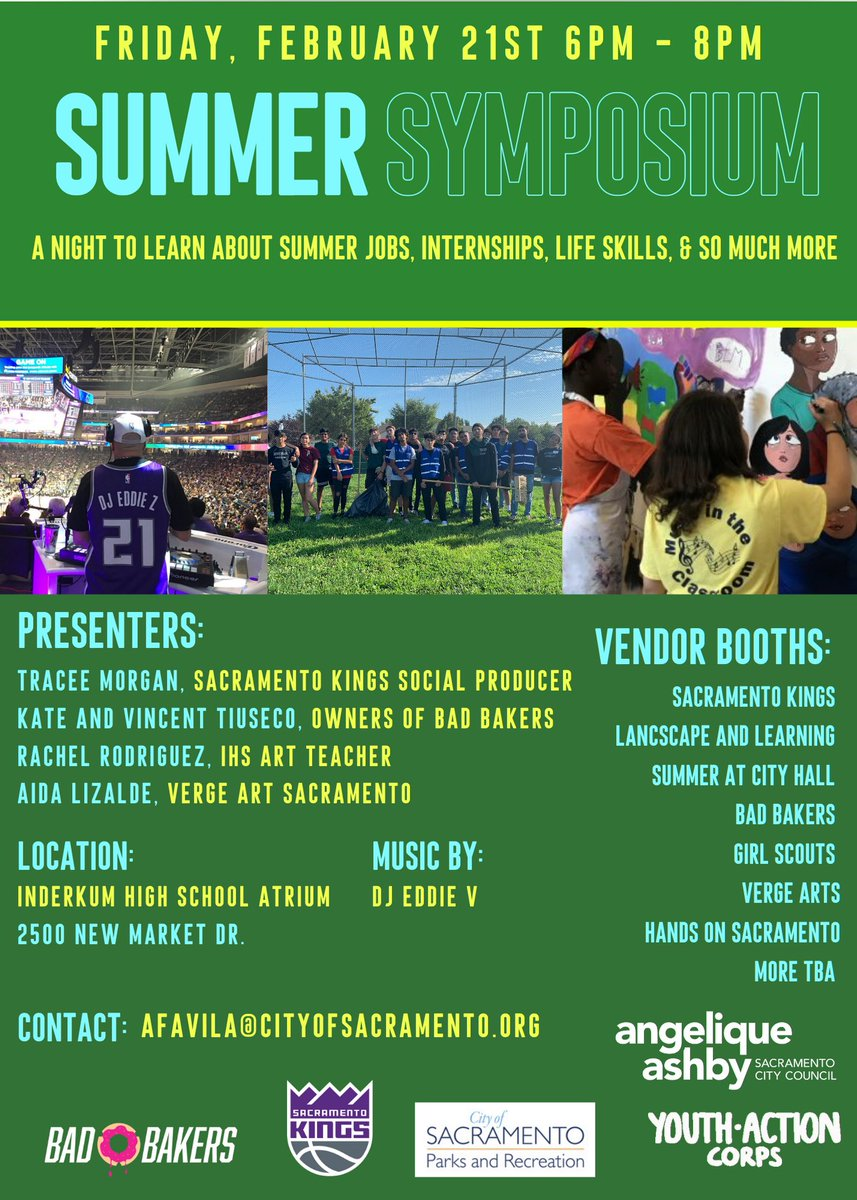 Great opportunity 4 #Natomas #Sacramento youth  2020 Summer Symposium is Fri, February 21st from 6 pm - 8 pm.  Hear about Summer Jobs/Internships opportunities, etc🙂 For further questions email Andre Favila afavila@cityofsacramento.org https://t.co/HAc2853wzh