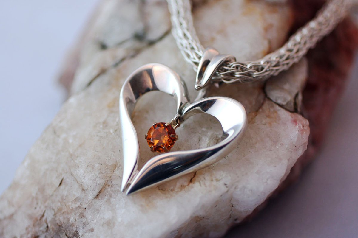 Sterling Silver Open Heart Necklace, Citrine Gemstone Necklace, Sterling Statement Jewelry  #silver_jewelry #handmadegifts #handmadeinUSA #HeartPendant