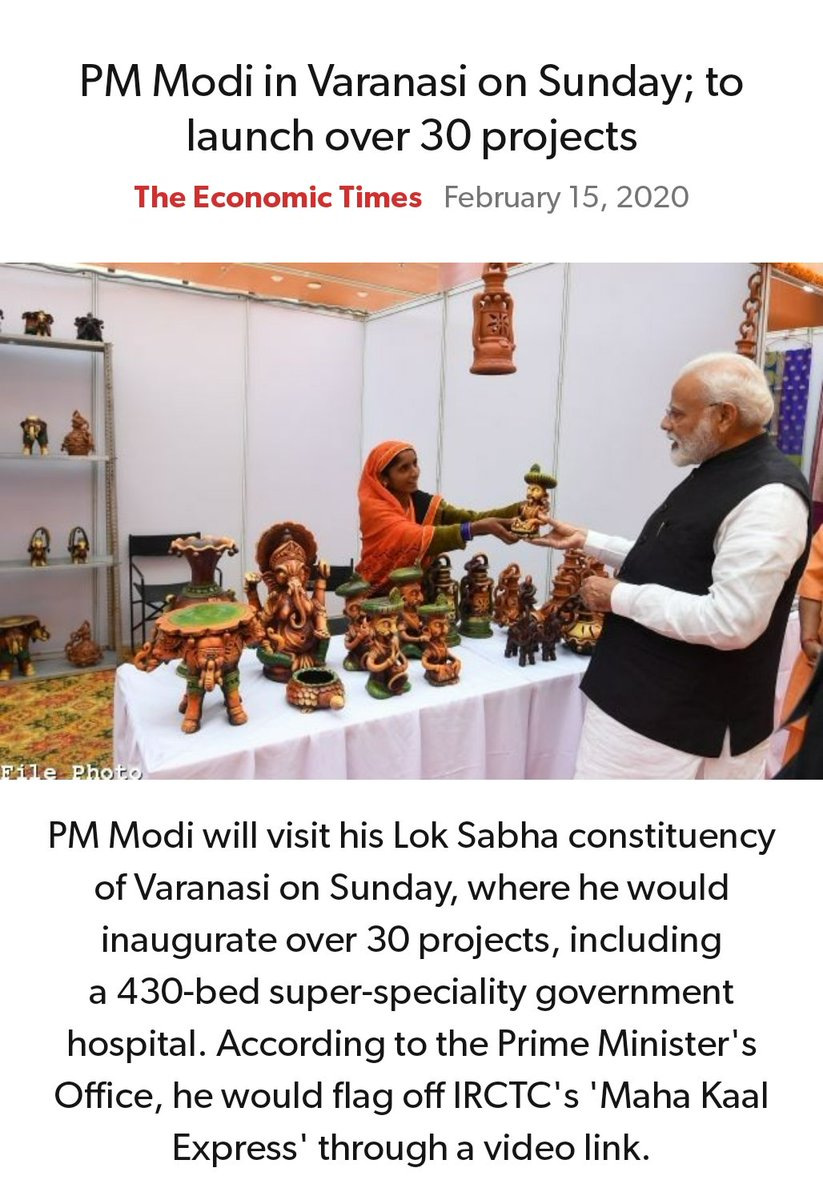 PM Modi in Varanasi on Sunday; to launch over 30 projects https://economictimes.indiatimes.com/news/politics-and-nation/pm-modi-in-varanasi-on-sunday-to-launch-over-30-projects/articleshow/74135842.cms…pic.twitter.com/LiOWBoq6uF