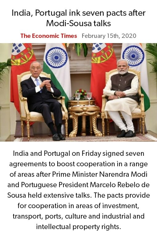 India, Portugal ink seven pacts after Modi-Sousa talks pic.twitter.com/5GBSoVREyt