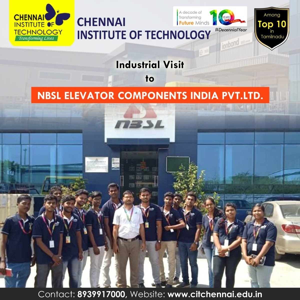 Industrial Visit to NBSL Elavator Components India Ltd. is  organised for Second Year Students by Department of Electrical and Electronics Engineering on 13th Feb, 2020  #IndustryConnectedInstitute #IndustrialVisit #ChennaiInstituteofTechnology #CITChennai #TransformingLivespic.twitter.com/pDK2PRxN5l
