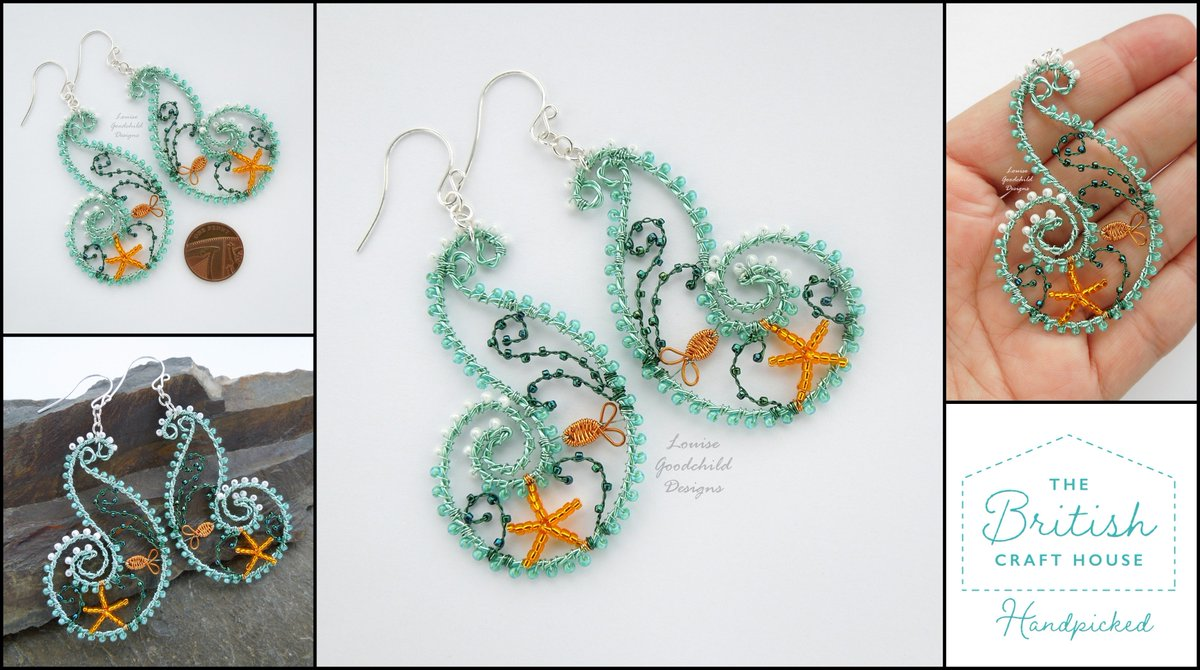 Ooak wire wrapped Ocean Wave earrings just added to my #tbch shop. #tbchsellers #teamtbch #oneofakindjewellery pic.twitter.com/DCfCjzNQcm