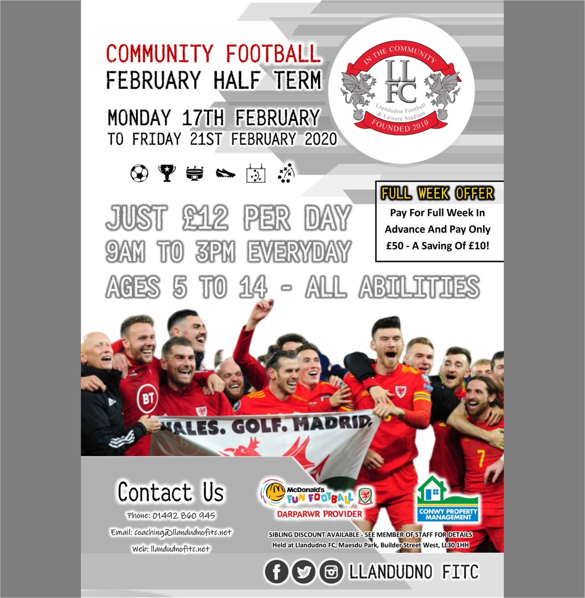 FEBRUARY HALF TERM  We are pleased to announce our February Half Term camp - FULL INFO ON OUR POSTER!  To book, send us a direct message, email coaching@llandudnofitc.net or call 01492 860945. #OneClubOneCommunity #NotForProfit #ForTheGamepic.twitter.com/0nBBwTWL8S