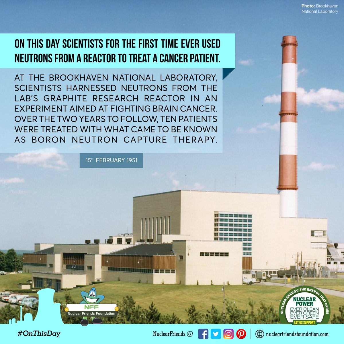 #OnThisDay On this day scientists for the first time ever used neutrons from a reactor to treat a cancer patient  Reach us @ http://nuclearfriendsfoundation.com  #NuclearPower #NuclearEnergy #Evergreen  #NuclearFacts  #SaturdayMotivation @iaeaorg @WorldNuclearUni @W_Nuclear_News @WorldNuclear