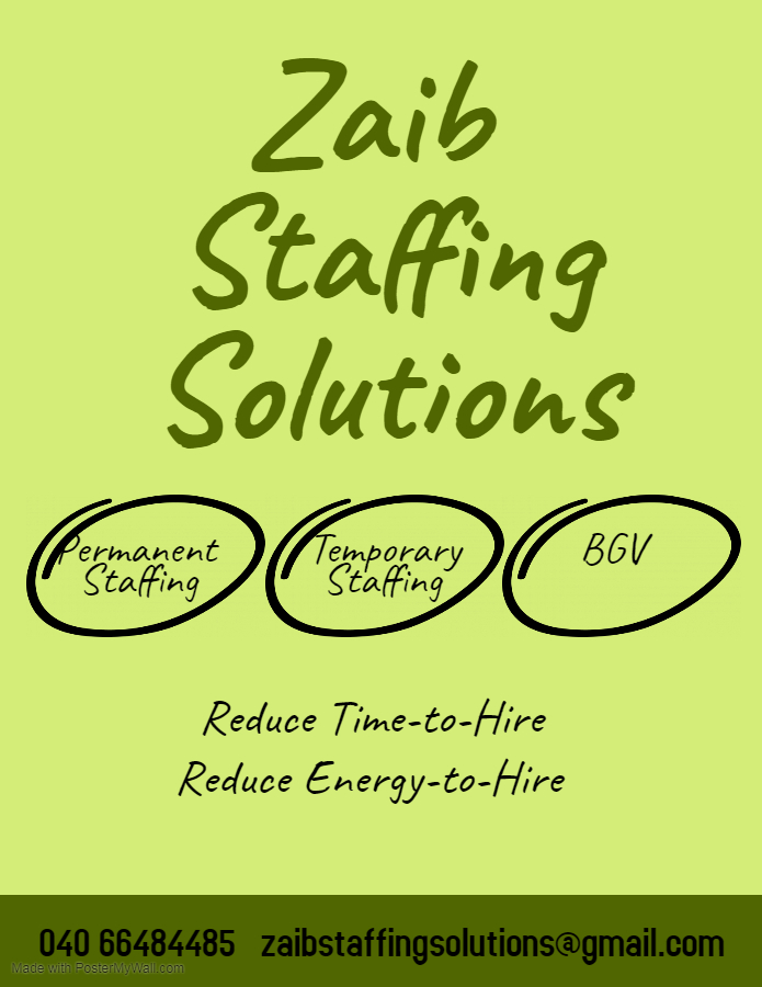 Zaib Staffing Solutions provides manpower to IT and non-IT companies in Hyderabad. We are experts in Screening and Selecting the right candidates for our clients. #zaibstaffingsolutions #HR #itcompanies #manpowerservice #recruitmentconsultants #hyderabadpic.twitter.com/XlYIs7jzDm