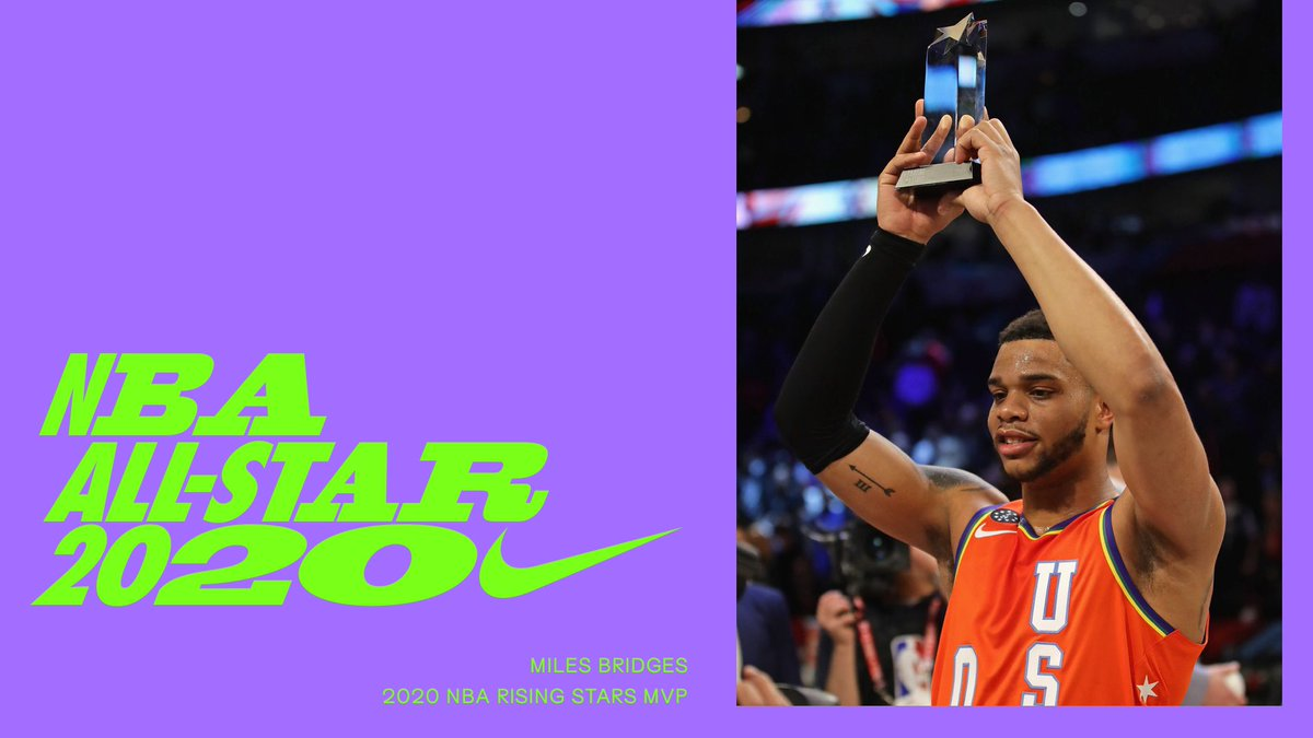 20 points, 5 rebounds, 5 assists and one standing ovation.⠀Congratulations to the 2020 Rising Stars MVP @MilesBridges. #NBAAllStar #Nike