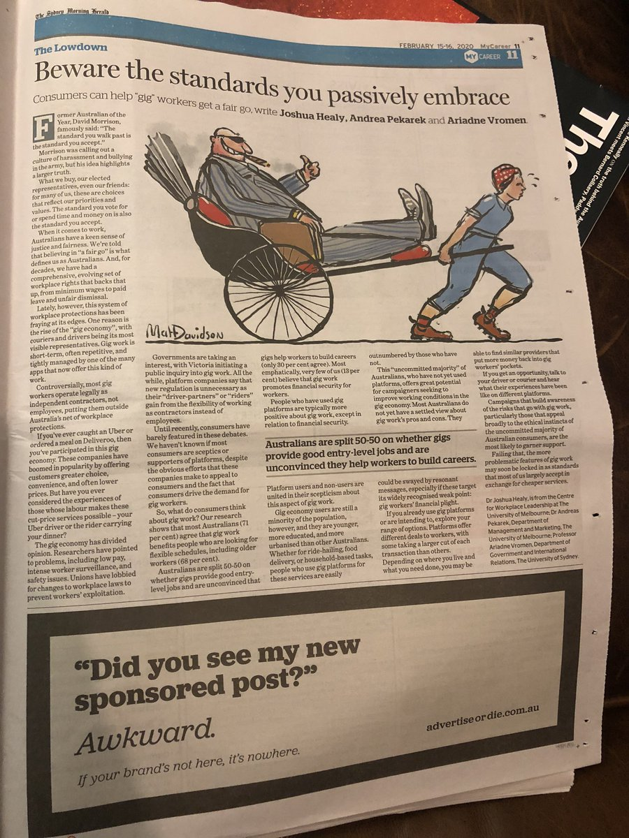 While this was published online last week - something nostalgic & special about seeing it in print in @smh today - @youralarmbells @AndreasPekarek #gigeconomy @SydneyUni_Media @unimelb