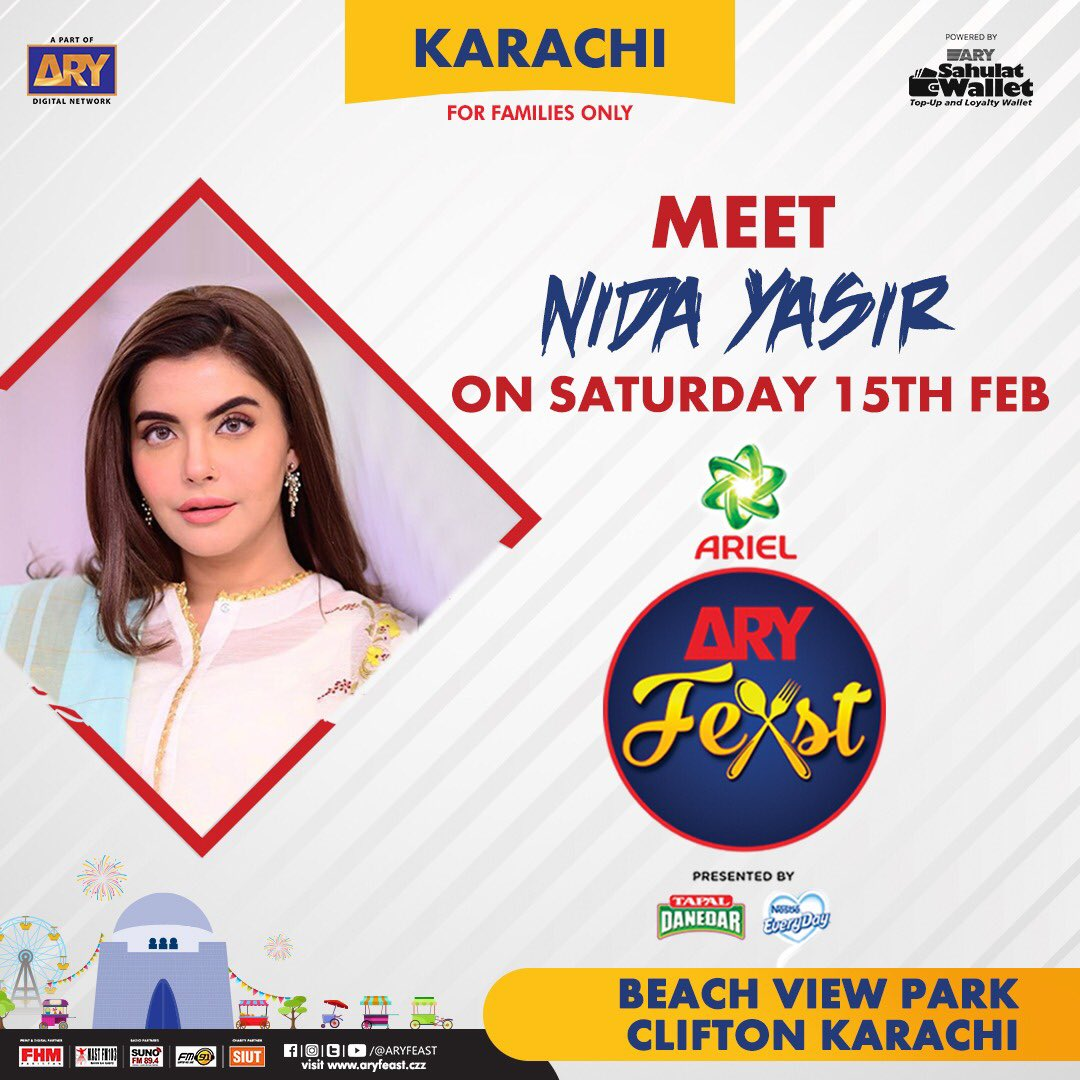 Meet #NidaYasir tonight at Pakistan's Biggest Family Food & Music Festival #ARYFeast #Karachi  So, don't miss out the chance to join us from 14-16 Feb 2020 at #BeachViewPark , Clifton  #Follow @aryfeast for more updates #Ariel #TapalDanedar #NestleEveryday #ARYDigitalNetworkpic.twitter.com/2BmkAD6ofs