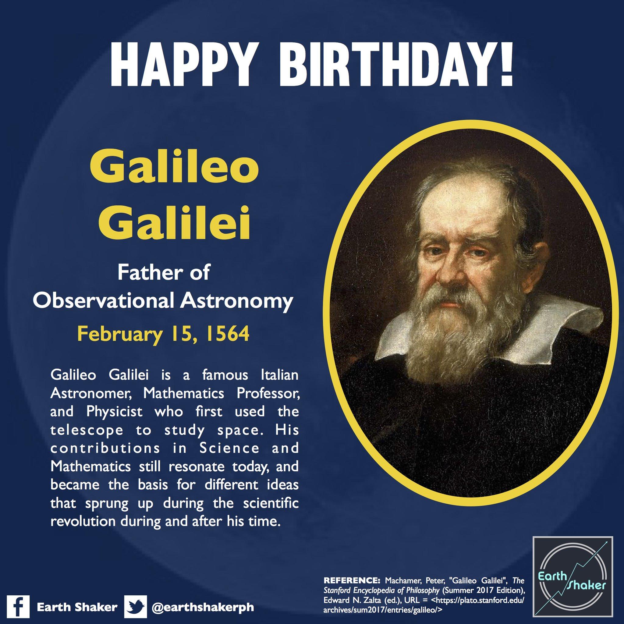 "Earth Shaker PH on Twitter: ""Galileooooooo, Galileoooooo! On this day in  1564, the famous Italian astronomer, Galileo Galilei, was born in Pisa,  Italy. His initiative of using the telescope to observe the"