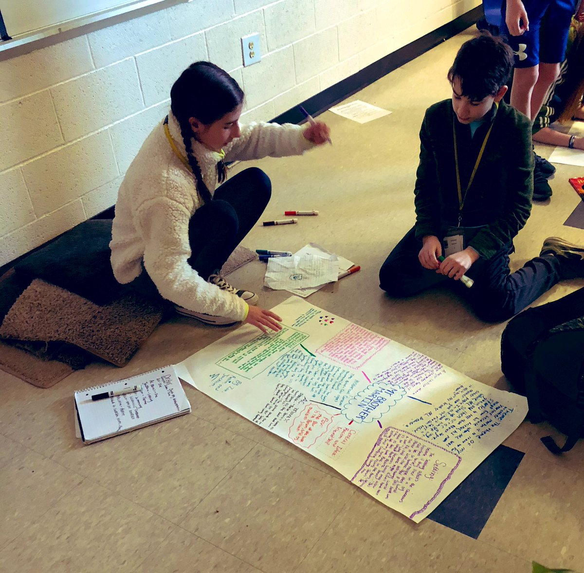 Ss used historical fiction children's books to examine how historical context & conflict shapes a character, make text:text connections w/ their book club novels,etc. Then worked w/  partners to display and present it all! #2ndaryela #readingworkshop #picturebooksformiddleschool