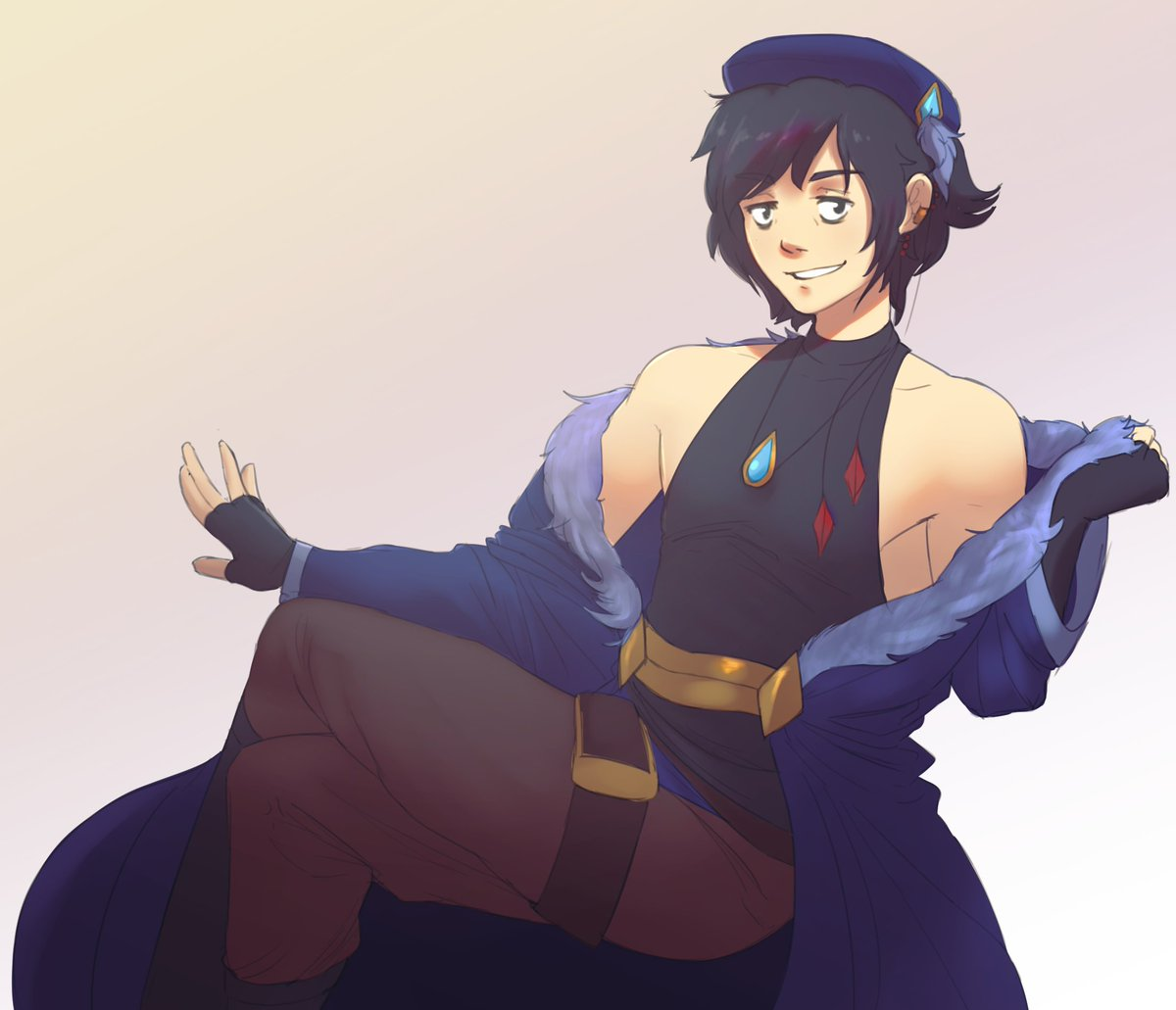 Look at this lovely image of my UTAU Indra drawn by @MisterPanncake I commissioned! Totally like go support them, Im like cry 💖💖😭😭😭