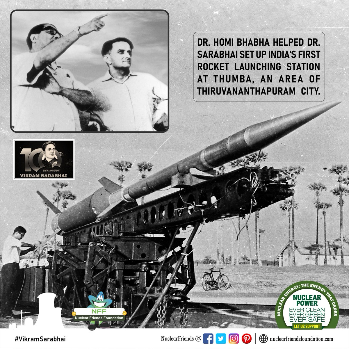 Dr. Homi Bhabha helped Dr. Sarabhai set up India's FIRST Rocket Launching Station at Thumba, an area of Thiruvananthapuram city  Reach us @ http://nuclearfriendsfoundation.com  #NuclearPower #NuclearEnergy #Evergreen  #NuclearFacts  #MondayMotivation #VikramSarabhai @iaeaorg @W_Nuclear_News