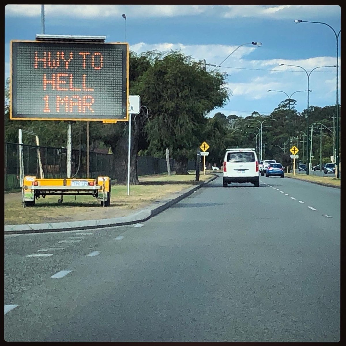 Traffic alert: Hell ahead, public welcome @perthfest, Canning Highway, Western Australia. . . . . #justanotherdayinwa #highwaytohell #highwaytoheaven #canninghighway #perthfestival #acdc<br>http://pic.twitter.com/qOMashNxCs