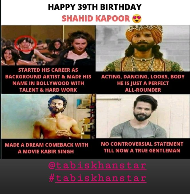 Happy birthday dear Shahid Kapoor.