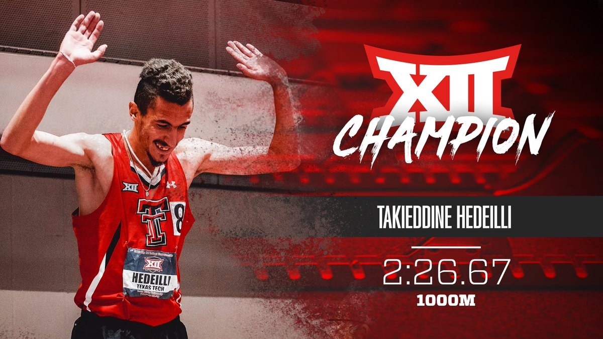 𝐓𝐀𝐊𝐈𝐄 𝐃𝐎𝐔𝐁𝐋𝐄𝐒! An hour after winning the mile, Hedeilli comes back to take the 1000m! 🔴#WreckEm | #Big12TF⚫️