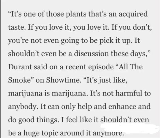 杜蘭特呼籲大麻合法化!認為與咖啡和酒無異,對任何人都無害,NBA不應該禁止!-籃球圈