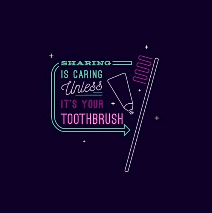 Don't share your toothbrush! 👍  #UtahDentist #Dental #Dentist #Dentists #Teeth #Ogden #Smile #Smiles #Sharing #Toothbrush #Toothpaste
