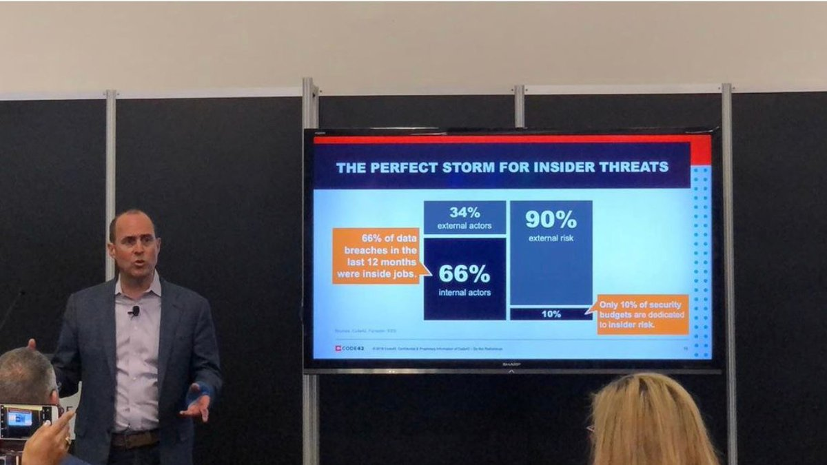 "It's unrealistic to think you can stop #insiderthreat by locking down Gmail, endpoints and Dropbox. ""You're fighting a different battle today,"" said Code42 CEO @PayneJoe. Traditional DLP is not working. 69% of orgs breached from the inside had a DLP solution in place. #RSAC <br>http://pic.twitter.com/S9KsILMOQ1"