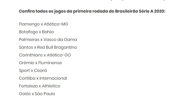 Paulo Freitas On Twitter The Brazil Fa Has Announced The First Round Of The Brasileirao It Will Take Place Between 2 May And 4 May Last Year S Champions Flamengo Debut Against Atletico