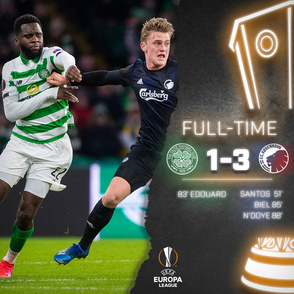 The Bhoys are knocked out of the @EuropaLeague.  #CELCOP #UEL